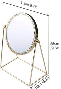 PuTwo Makeup Mirror Single Sided Vanity Mirror Vintage 360° Rotation Metal Cosmetic Mirror Round Beauty Mirror Handmade Make Up Mirror for Dresser Vanity Table Desk - Champagne Gold