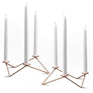 PuTwo Candlestick Holders 2 pcs 3 Arm Candle Holder Metal Candelabra Irregular Geometric Design Decoration for Home Decor Copper Taper Candle Holder Ideal Gift for Wedding Ceremony Party - Rose Gold