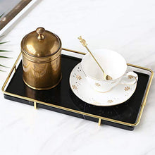Charger l'image dans la galerie, PuTwo Decorative Tray Black Marble Tray with Polished Gold Metal Handles Jewelry Tray Handmade Catchall Vanity Tray for Dresser Bathroom Vanity Table Bar Ideal Gift for Birthday Christmas - Black