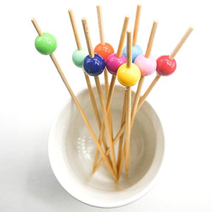 "Putwo 4.7"" Cocktail Picks Bamboo Handmade Appetizer Toothpicks Sticks 4.7"" 100ct Multicolor Beads"