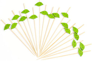 "PuTwo Cocktail Picks Handmade Bamboo Toothpicks 100ct 4.7"" Green Leaves"