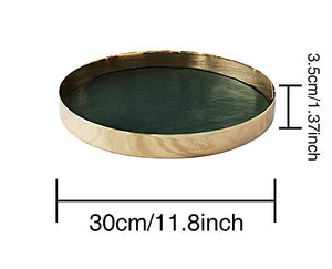 PuTwo Decorative Tray 12'' X 12'' Jewelry Tray Metal & PU Leather Vanity Tray Antique Perfume Tray Handmade Trinket Tray Ottoman Tray Catchall Tray for Dresser Bathroom Vanity - Gold, Hunter Green