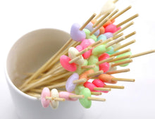 "Carica l'immagine nel visualizzatore di Gallery, PuTwo Cocktail Picks Bamboo Handmade Appetizer Toothpicks Sticks 4.7"" 100ct Heart Candy in Assorted Color"