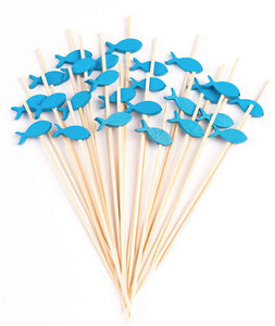 PuTwo Cocktail Toothpicks 100 Counts Cocktail Picks Handmade Natural Bamboo Cocktail Sticks Eco-Friendly Appetizer Skewers for Cocktail Appetizers Fruits Dessert - Blue Fishes