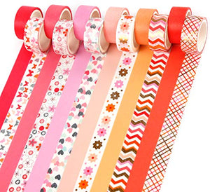 PuTwo Washi Tape, 12 Rolls Pastel Washi Tape, 15mm Washi Tape Set, Decorative Tape, Cute Washi Tape, Vintage Washi Tape, Japanese Washi Tape, Washi Tape for Journal, Decorative Tape for Crafts - Pink