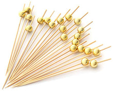 Load image into Gallery viewer, PuTwo Handmade Cocktail Picks 100 Count Sticks Wooden Toothpicks Party Supplies - Gold Pearl