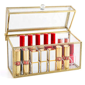 PuTwo Lipstick Organizer 24 Slots Handmade Glass and Brass Lipstick Holder with Lid Lip Dustproof Gloss Organizer Vintage Transparent Lip Gloss Display Decoration for Dresser Countertop
