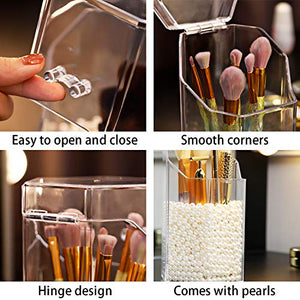 PuTwo Makeup Brush Holder with 1500 Pearls, Transparent Makeup Organiser, Hexagon Makeup Brush Organiser, Makeup Brushes Holder with Lid, Makeup Storage for Countertop, Vanity