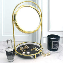 Load image into Gallery viewer, PuTwo Makeup Mirror Double Sided 1x & 3X Magnifying Mirror Round 360° Rotation Cosmetic Mirror with Black Marble Tray Beauty Mirror Vintage Vanity Mirror for Dresser Vanity Table Desk - Gold & Black
