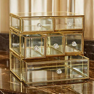 PuTwo Vintage Makeup Organizer 3 Layers 6 Drawers Detachable Cosmetic Organizer Glass Makeup Storage for Countertop Bathroom Vanity Dresser Ideal Gift for Birthday Christmas Wedding - Gold