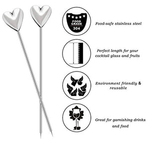 PuTwo Cocktail Picks Stainless Steel 4' Unique Middle Ages Bonzes Horses Sticks Party Supplies - Set of 6