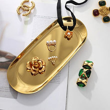 画像をギャラリービューアに読み込む, PuTwo Jewelry Organizer Oval Jewelry Tray Stainless Steel 7'' x 3.2'' Bathroom Storage Vanity Tray Decorative Trays for Perfume Organizer Jewelry Holder for Ring Earrings Necklace Bracelet - Gold