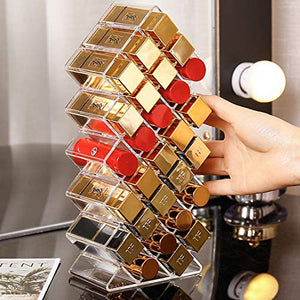 PuTwo Lipstick Organizer, 28 Grids Lipstick Holder, Clear Makeup Organizer, Lipstick Organizers and Storage, Lipstick holder Organizer, Lip Gloss Organizer, Makeup Storage for Makeup Display, Vanity