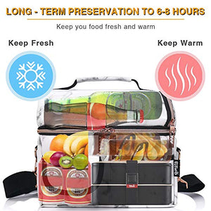 PuTwo Lunch Bag, 8L Insulated Lunch Bags Double Compartment Lunch Tote Leakproof Lunch Cooler Bag with Adjustable Shoulder Strap Freezable Lunch Bag Meal Prep Bag for Women - Marble Lunch Bag