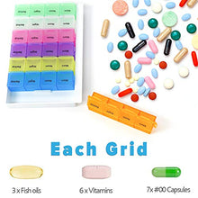 Load image into Gallery viewer, PuTwo Pill Box 7 Days 28 Compartments, Pill Organizers, Pill Box, Large Capacity Medicine Organizer for Vitamin Fish Oil Supplements Medication