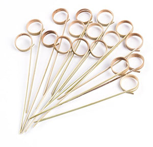 PuTwo 100 Counts Bamboo Skewers Wooden Fork Toothpicks for Appetizers Food Picks BBQ Cocktail Party, Double Circle Knotted End