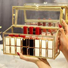 Carica l'immagine nel visualizzatore di Gallery, PuTwo Lipstick Organizer 24 Slots Handmade Glass and Brass Lipstick Holder with Lid Lip Dustproof Gloss Organizer Vintage Transparent Lip Gloss Display Decoration for Dresser Countertop