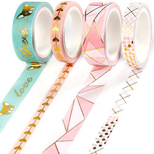 PuTwo Washi Tape, 4 Rolls Pink Washi Tape, 7.5mm/15mm Washi Tape Set, Decorative Tape, Cute Washi Tape, Decorative Tape, Japanese Washi Tape, Washi Tape for Journal, Decorative Tape for Crafts