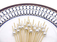 "Load image into Gallery viewer, PuTwo Cocktail Picks Handmade Bamboo Toothpicks 4.7"" White Pearl in 100 Counts"