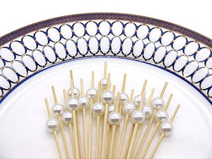 "PuTwo Cocktail Picks Handmade Bamboo Toothpicks 4.7"" White Pearl in 100 Counts"