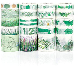 PuTwo Washi Tape, 20 Rolls Decorative Tape, 10mm/15mm/30mm Washi Tape Set, Decorative Tape, Cute Washi Tape, Green Washi Tape, Japanese Washi Tape, Washi Tape for Journal, Decorative Tape for Crafts