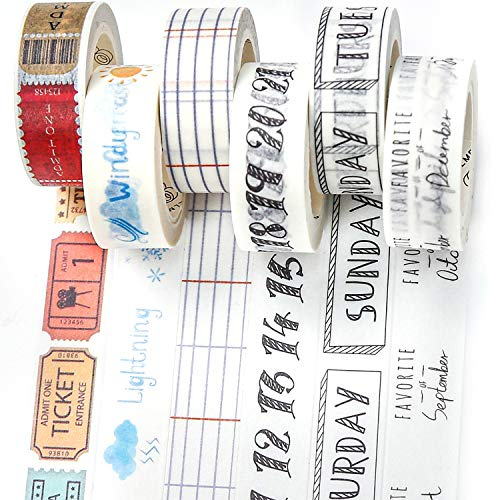 PuTwo Washi Tape, 6 Rolls Decorative Tape, 15mm Washi Tape Set, Decorative Tape, Cute Washi Tape, Washi Tapes, Japanese Washi Tape, Washi Tape for Journal, Decorative Tape for Crafts