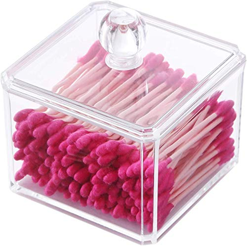 PuTwo Makeup Organizer Bathroom Storage Cotton Buds Dispenzer Cotton Swabs Holder with Lid - Square