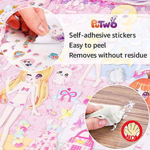 PuTwo Stickers, 2 Sheets Dress-up Puffy Stickers, Cute Stickers, Kids Stickers, Sticker Sheets, 3D Stickers, Stickers for Kids, Stickers for Toddlers, Sticker for Girls' Birthday Gift, Kid's Crafts