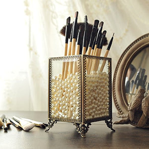 PuTwo Makeup Organizer Vintage Make up Brush Holder with Free White Pearls - Small