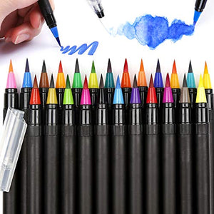 LuluPlus Watercolor Brush Pens, 24 pcs Watercolor Pens and 2 Water Brush Pen, Colored Pens for Drawing, Colorful Pens for Coloring Books, Brush Markers for Adult Coloring, Artists and Beginners