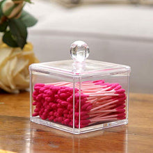 画像をギャラリービューアに読み込む, PuTwo Makeup Organizer Bathroom Storage Cotton Buds Dispenzer Cotton Swabs Holder with Lid - Square