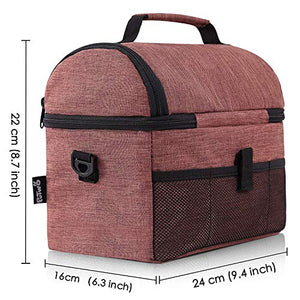 PuTwo Lunch Bag 8L Insulated Lunch Bag Lunch Box Lunch Bags for Women Lunch Bag for Men Cooler Bag with YKK Zip and Adjustable Shoulder Strap Lunch Tote for Kids Lunch Box Lunch Pail - Brown