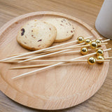 PuTwo Cocktail Sticks 100 Counts Cocktail Toothpicks Handmade Natural Bamboo Cocktail Pick Eco-Friendly Appetizers Sticks for Cocktails Appetizers Fruits Desserts Party Supplies - Golden Pearls