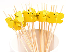 Load image into Gallery viewer, PuTwo Cocktail Toothpicks 100 Counts Cocktail Picks Handmade Natural Bamboo Cocktail Sticks Eco-Friendly Appetizer Skewers for Cocktail Appetizers Fruits Dessert - Yellow Ducks