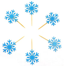 Charger l'image dans la galerie, PuTwo 20 Counts Wedding Cake Decorating Frozen Cupcake Toppers Toothpicks, Sliver/Blue/Snow