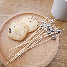 Carica l'immagine nel visualizzatore di Gallery, PuTwo Handmade Cocktail Picks 100 Count Sticks Wooden Toothpicks Party Supplies - Silver Pearl