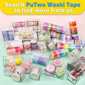 PuTwo Washi Tape, 3 Rolls Floral Washi Tape, Decorative Tape, Washi Tape Set, Cute Washi Tape, Washi Tapes, Japanese Washi Tape, Washi Tape for Journal, Decorative Tape for Crafts [200Pcs/ Roll]