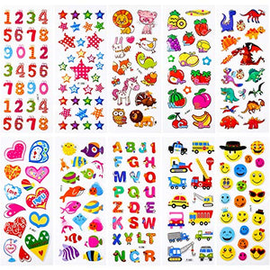 PuTwo Stickers 200+, 10 Different Sheets Puffy Stickers, Cute Stickers, Kids Stickers, Sticker Sheets, 3D Stickers, Stickers for Kids, Stickers for Toddlers, Sticker for Birthday Gift, Kid's Crafts