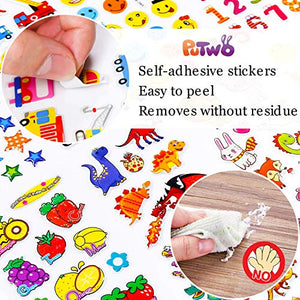 PuTwo Stickers 600+, 30 Different Sheets Puffy Stickers, Cute Stickers, Kids Stickers, Sticker Sheets, 3D Stickers, Stickers for Kids, Stickers for Toddlers, Sticker for Birthday Gift, Kid's Crafts