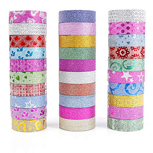 PuTwo Washi Tape, 30 Rolls Glitter Washi Tape, 15mm Washi Tape Set, Decorative Tape, Cute Washi Tape, Vintage Washi Tape, Japanese Washi Tape, Washi Tape for Journal, Decorative Tape for Crafts
