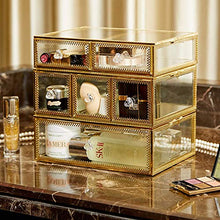 Laden Sie das Bild in den Galerie-Viewer, PuTwo Vintage Makeup Organizer 3 Layers 6 Drawers Detachable Cosmetic Organizer Glass Makeup Storage for Countertop Bathroom Vanity Dresser Ideal Gift for Birthday Christmas Wedding - Gold