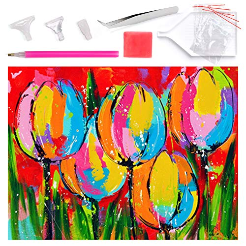 PuTwo Diamond Painting, 12x16 Inch Full Drill Diamond Painting, 5D Diamond Painting Kit, Diamond Painting Kits for Adults, Diamond Painting Kits for Kids, Paint by Number Kit, Diamond Painting Tulip