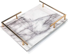 Carica l'immagine nel visualizzatore di Gallery, PuTwo Trinket Tray Marbled MDF Jewellery Tray with Gold Metal Handle Vanity Tray Handmade Catchall Tray for Dresser Bathroom Vanity Table Gift for Birthday Christmas - White