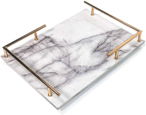 PuTwo Trinket Tray Marbled MDF Jewellery Tray with Gold Metal Handle Vanity Tray Handmade Catchall Tray for Dresser Bathroom Vanity Table Gift for Birthday Christmas - White