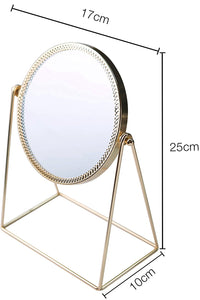 PuTwo Beauty Cosmetic Mirror, Ornate Decorative , Princess Style Single-Sided Mirror - Champagne Gold