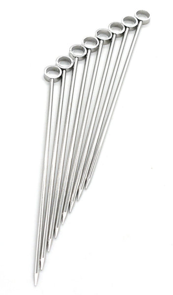PuTwo 8 Pcs Stainless Steel Cocktail Picks Cocktail Sticks Martini Glass Picks Cocktail Appetizer Pick Toothpicks Party Supplies - Circles