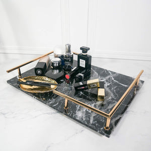PuTwo Trinket Tray Marbled MDF Jewellery Tray with Gold Metal Handle Vanity Tray Handmade Catchall Tray for Dresser Bathroom Vanity Table Gift for Birthday Christmas - Black
