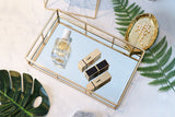 PuTwo Tray Mirror, Gold Mirror Tray Perfume Tray Mirror Vanity Tray Dresser Tray Ornate Tray Metal Decorative Tray Tray Jewelry Perfume Organizer Makeup Tray for Vanity, Dresser, Bathroom, Bedroom