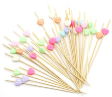 "Load image into Gallery viewer, PuTwo Cocktail Picks Bamboo Handmade Appetizer Toothpicks Sticks 4.7"" 100ct Heart Candy in Assorted Color"