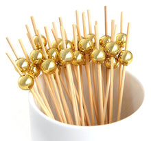Load image into Gallery viewer, PuTwo Cocktail Toothpicks 100 Counts Cocktail Picks Handmade Natural Bamboo Cocktail Sticks Eco-Friendly Appetizer Skewers for Cocktail Appetizers Fruits Dessert - Gold Pearls